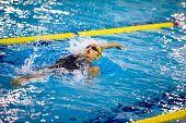 Milan - December  23: V. Neri Performing Backstroke  In  Swimming Meeting Brema Cup On December  23,