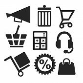 Online Shopping Web And Mobile Icons. Vector.