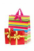 Striped Gift Bag Isolated On The White Background