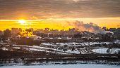 Morning sunrise over the city.