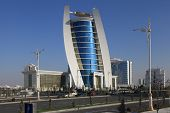 Ashgabat, Turkmenistan - October 11, 2014: View On The  New Building. Ashkhabad. Turkmenistan In Oct