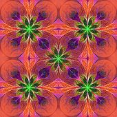Pattern From Fractal Flowes In Purple And Green. Computer Generated Graphics.