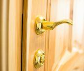 Golden Door Handle And Lock On The Wooden Door