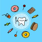 Child's drawing of well protected and healthy tooth (raster version)