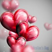 vector holiday illustration of flying bunch of red balloon hearts with shiny sparkles. Happy Valenti