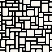 Abstract Geometric Seamless Pattern. White Rounded Rectangles Over Black Background.