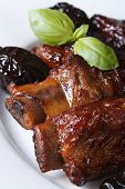 Pork Ribs Stewed With Prunes Macro Vertical