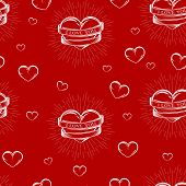 vector seamless pattern with engraving hearts,  ribbons and burst light rays. I love you. Happy Vale