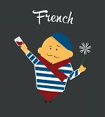 stock photo of french beret  - French man cartoon character - JPG
