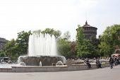 Milan Sforza Castle Main Tower And Fountain
