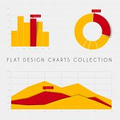 Set of vector flat design infographics statistics charts and graphs - yellow and red version
