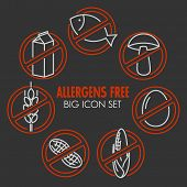 Vector icons set for allergens free products (milk, fish, egg, gluten, wheat, nut, lactose, corn, mushroom) on dark background