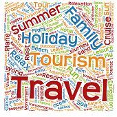 Concept or conceptual abstract summer travel or tourism word cloud or wordcloud isolated on white background