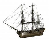 French frigate Medusa, 1810 - 3D render