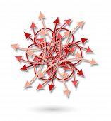 Red Arrows Flowers Pattern