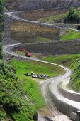 Winding road on mud mountain dam in Washington state