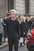 Model Lucky Blue Smith Poses Outside Cavalli Fashion Show Building For Milan Men's Fashion Week 2015