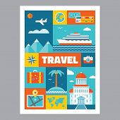 Travel - mosaic poster with icons in flat design style. Vector icons set. Set of tourism icons.