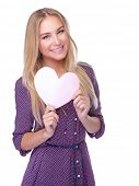 Portrait of cute happy romantic girl with paper heart isolated on white background, Valentine day gift or cardiology treatment and medical theme