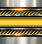 Background with warning stripes on vector metal texture.