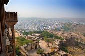 Jodhpur The In Rajasthan State In India. View From The Mehrangarh Fort.