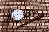 Old Pocket Watch And Pen