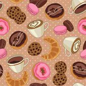 Cookies and coffee pattern, light brown