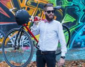 Bearded Man With Bicycle