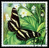 Vintage  Postage Stamp.   Heliconius Charithonius Ramsdeni.