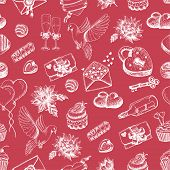 Vector Seamless Pattern With Hand Drawn Valentine's Day Elements On Red Background
