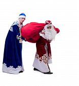 Funny Santa and Snow Maiden exchanged costumes
