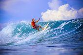 Surfer On Amazing Blue Wave