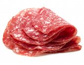 Salami sausage slices isolated on white background cutout