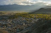 Views of Leh city before sunset from Namgyal Tsemo Monastery
