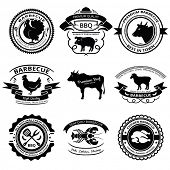 Set of nine BBQ labels with animals silhouettes.