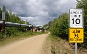 Trans Alaska Pipeline with Permafrost Stabilizing Heat Exchangers