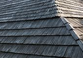 image of shingles  - Old wooden shingle roof with rich texture - JPG