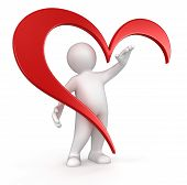 man and heart (clipping path included)