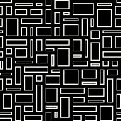 Abstract Geometric Seamless Pattern. White Empty Rectangles Over Black Background.