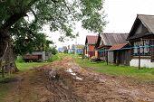 Muddy street in the village