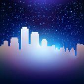 Night City Sky With Stars Background