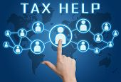 pic of income tax  - Tax Help concept with hand pressing social icons on blue world map background - JPG