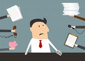 image of cartoon character  - Worried cartoon businessman with smartphone in hand has a lot of of task and paperwork in flat style suitable for time management business concept design - JPG