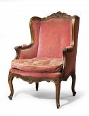 Antique Upholstered Wing Chair Carved Legs Isolated With Clip Path