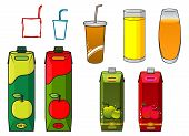Apple juice design elements in cartoon style