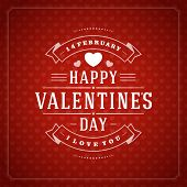 Happy Valentine's day Greeting Card or Inviration with Wishes, Vintage Vector Background