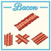 Vector Bacon Set.hand Drawn Bacon.