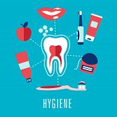 Flat dental hygiene concept in blue background