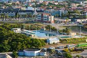 pic of curacao  - Colorful buildings and swimming pool in Curacao - JPG