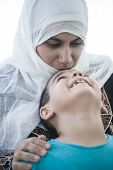 image of arabic woman  - Arabic Muslim Middle Eastern woman with little son - JPG